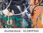 old graffiti on a cement wall... | Shutterstock . vector #611849564