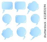 speech bubbles set. blue vector ... | Shutterstock .eps vector #611853194