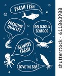 seafood cartoon poster.crab ... | Shutterstock .eps vector #611863988