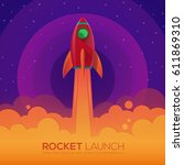space rocket launch ship in a... | Shutterstock .eps vector #611869310