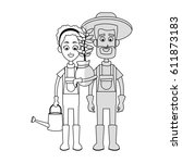 gardener couple icon | Shutterstock .eps vector #611873183