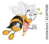 bee crazy smile cartoon   Shutterstock .eps vector #611874080