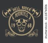 motorcycle t shirt graphics.... | Shutterstock .eps vector #611876006