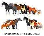 border of horses arranged in... | Shutterstock .eps vector #611878460