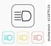 headlight high beam symbol...   Shutterstock .eps vector #611879114