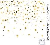 gold star confetti rain festive ... | Shutterstock .eps vector #611879990
