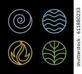 nature 4 elements circle line...