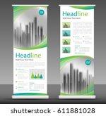 green roll up business brochure ... | Shutterstock .eps vector #611881028
