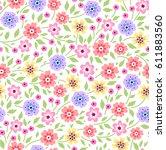 floral pattern. pretty flowers...   Shutterstock .eps vector #611883560