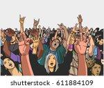illustration of massive crowd... | Shutterstock .eps vector #611884109