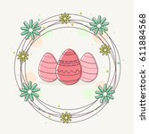 hand drawn decorative easter... | Shutterstock .eps vector #611884568