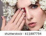 young beautiful girl with white ... | Shutterstock . vector #611887754
