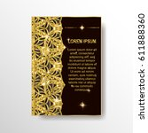 decorative book cover in gold... | Shutterstock .eps vector #611888360