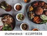 nasi campur  asian dish made of ...   Shutterstock . vector #611895836