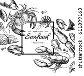 seafood hand drawn vector... | Shutterstock .eps vector #611899163