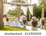 outdoor beach wedding setup in... | Shutterstock . vector #611904020