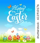 easter holiday poster | Shutterstock .eps vector #611910176