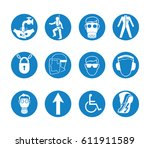 sign and symbol in factory or... | Shutterstock .eps vector #611911589