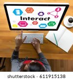 Small photo of Interact Communicate Businessman working Connect Social Media Social Networking