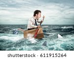 escape from crisis. funny face | Shutterstock . vector #611915264
