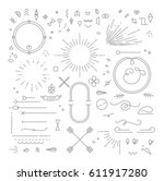 Stock vector flat design elements in vintage style drawing with gray lines on white background 611917280