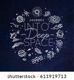 flat monogram lettering journey ... | Shutterstock .eps vector #611919713