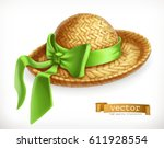 straw hat 3d vector icon | Shutterstock .eps vector #611928554