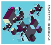 vector isometric abstract... | Shutterstock .eps vector #611932439