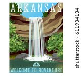 arkansas travel poster or... | Shutterstock .eps vector #611934134