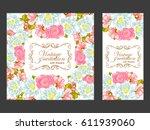 romantic invitation. wedding ... | Shutterstock . vector #611939060