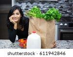 closeup portrait  young woman... | Shutterstock . vector #611942846