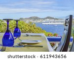 close up view of a table set at a restaurant in St-Kitts and Nevis, looking at the port