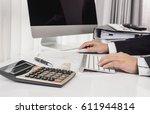 business man working at office... | Shutterstock . vector #611944814