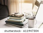 office workplace with laptop ... | Shutterstock . vector #611947304