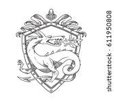 vector image of a heraldic... | Shutterstock .eps vector #611950808