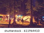 amazing scene in night camping  ... | Shutterstock . vector #611964410