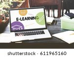 e learning distance education... | Shutterstock . vector #611965160