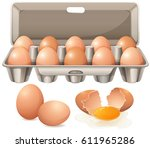 carton of eggs and raw egg yolk ... | Shutterstock .eps vector #611965286