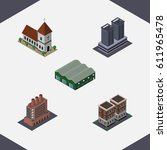 isometric urban set of chapel ... | Shutterstock .eps vector #611965478
