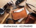 men's leather accessory ... | Shutterstock . vector #611966840