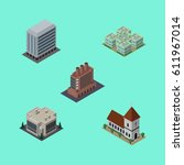 isometric construction set of... | Shutterstock .eps vector #611967014