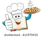 cook book mascot wearing hat... | Shutterstock .eps vector #611970410