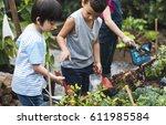 group of kindergarten kids... | Shutterstock . vector #611985584