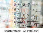 eyeglasses show products on the ... | Shutterstock . vector #611988554