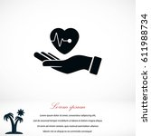 hands of the heart icon  flat... | Shutterstock .eps vector #611988734