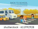 multiracial kids walking across ... | Shutterstock .eps vector #611992928