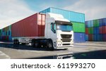 truck in container depot ...   Shutterstock . vector #611993270