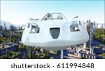 futuristic car flying over the... | Shutterstock . vector #611994848