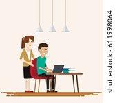 creative people working co... | Shutterstock .eps vector #611998064