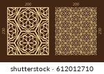 laser cutting set. woodcut...   Shutterstock .eps vector #612012710